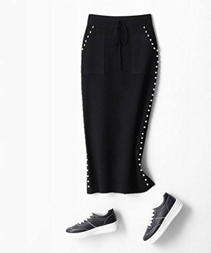 ZhiYuanAN Donne Maxi Gonna Abito In Maglia Chic Branelli Decorazione Coulisse Knitted Skirts Vestito Con Tasche Vita Alta Slim Fit Bodycon Spacco Maglina Gonna Nero