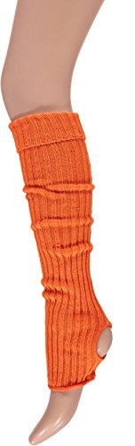 Krautwear® Damen Mädchen Ballettstulpen mit Fersenloch Beinwärmer Ballett Stulpen Legwarmer Armstulpen ca. 55 cm 80er Jahre 1980er Jahre schwarz weiss Neon Pink Grün Gelb Orange (Orange)