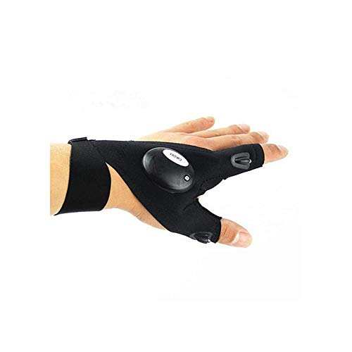 ODJOY-FAN Nacht Angeln Handschuh mit LED Licht Rettung Werkzeuge Draussen Ausrüstung Handschuhe LED Mit Licht Angeln Handschuhe Radfahren Scheinwerfer Handschuhe (A,1 PC)