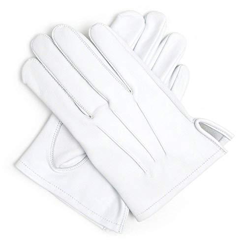 Weiß 100% weiches Leder Handschuhe L