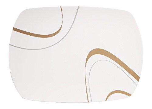 100% Melamin-Geschirr Servierplatte Cappuccino elfenbeinweiss/braun, eckig Camping-Geschirr Tafel-Service Picknik-Geschirr Trekking Outdoor