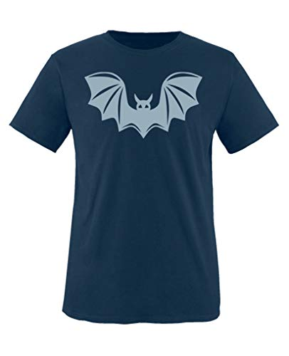 Comedy Shirts - Halloween Fledermaus - Jungen T-Shirt - Navy/Eisblau Gr. 110-116 -