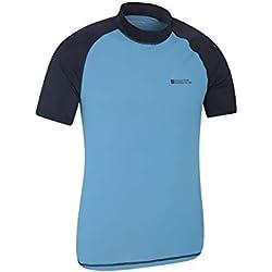 Mountain Warehouse T-Shirt Anti-UV pour Hommes - Protection UV UPF50+, léger, séchage Rapide, Tissu Stretch, Coutures Plates - pour la Natation, sous Une Combinaison Bleu Foncé M