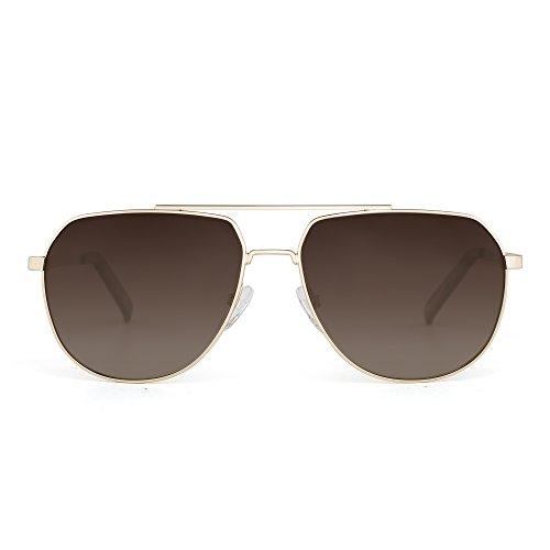 JIM HALO Polarisiert Flieger Sonnenbrille Spiegel Fahren Brille Metall Rahmen Damen Herren(Gold/Gelbbraun)
