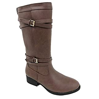 American Eagle Outfitters Girls Faux Leather Zip UP Soft Insole Knee HIGH Riding Boots Brown (4.5)