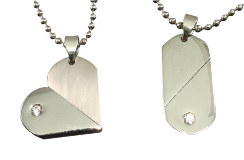 Luxury Engraved Gifts UK i3s Halskette mit Herzanhänger in Pillenform, personalisierbar, in Geschenkbox, silberfarben