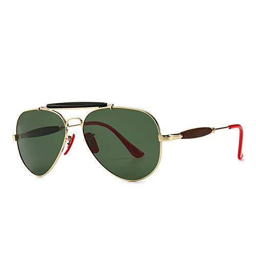KONGYUER Sonnenbrillen, Brillen,Gold Grün Classic Aviator Polarisierte Männer Sonnenbrillen Luxus Leichter Metallrahmen Driving Sun Glasses