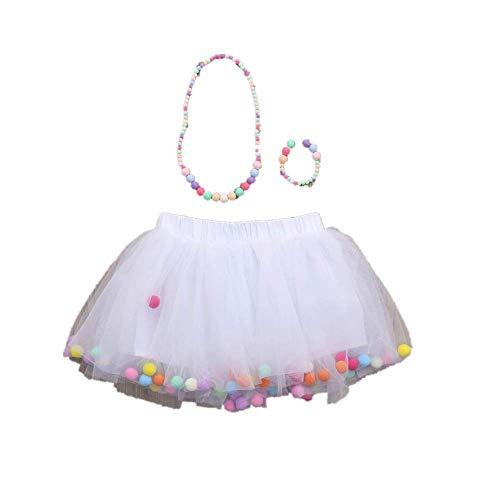WOZOW Kinder Tüllrock Einfarbig Fellknäuel Kunstpelzball Unterkleid Prinzessin Röckchen Dancewear Weihnachten Fasching Petticoat Mädchen Minirock