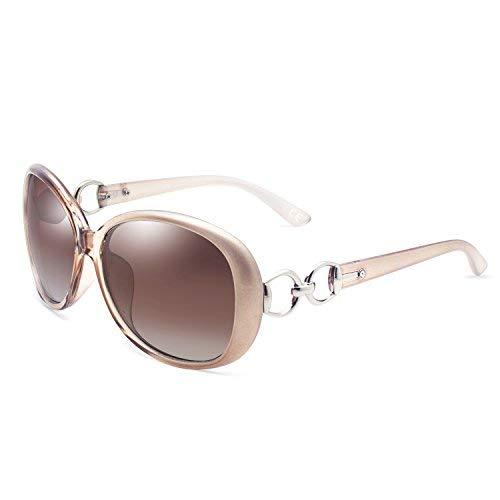 BVAGSS Polarisiert Sonnenbrille für Damen 100% UV400 Schutz Brillen (Champagne Frame Brown Lens)