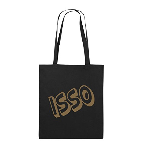Comedy Bags - ISSO - COMIC SCHIEF - Jutebeutel - lange Henkel - 38x42cm - Farbe: Schwarz / Pink Schwarz / Hellbraun