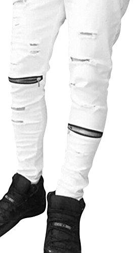 Brinny Hommes Skinny Fit effilochée Locomotive Biker Zipper Ripped Trou Jeans usagé Streetwear Denim Trouser 4 Tailles: M/L/XL/2XL Blanc