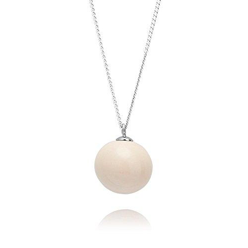 Louise Kragh Damen Halskette Pearl Perle Kugel Anhänger rund Porzellan Kaschmir Cashmere Sterling Silber 925 - N-PE0102CASs