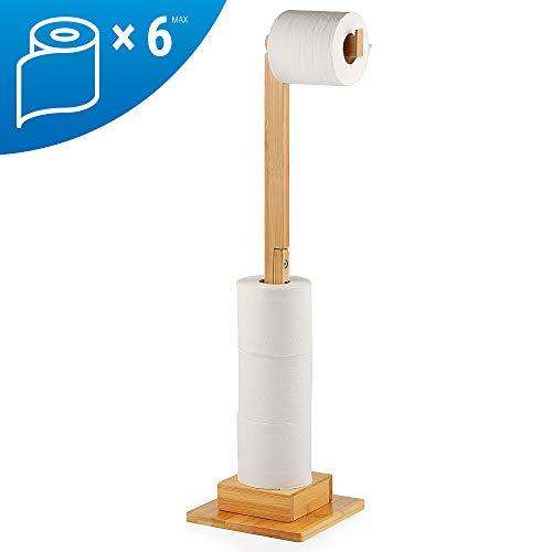 ecooe Verlängert Bambus Stand Toilettenpapierhalter Ohne Bohren Toilettenpapieraufbewahrung Ersatzrollenhalter Toilettenpapierrollen Stehender Ideal für 6 WCRollenhalter Ständer und Organizer (72cm)