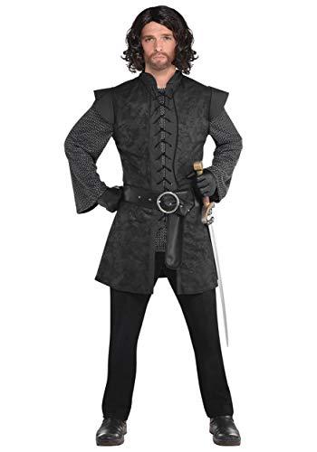 Mens Medieval style Black Knight Tunic Renaissance Jerkin Fancy Dress Accessory M (40-42')