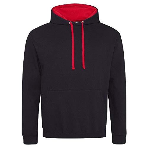 Just Hoods - Unisex Varsity Hoodie - 2-farbiger Kapuzenpullover 5XL,Jet Black/Fire Red