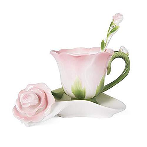 Daxinyang migliore forma 3d rosa del fiore dello smalto in ceramica tazza di caffè tè e piattino cucchiaio di alta qualità in tazza di porcellana creativo regalo di san valentino design,rosa