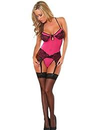Provocative Lady Evasion Hot Pink Lace Corset Set Small Medium (UK 6-10 f6144712f