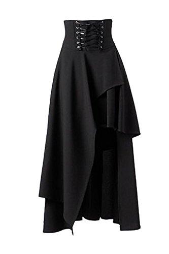 Las Mujeres De Cintura Alta De Lolita Gotica Sólido Vendaje Maxi Falda Asimétrica Black S