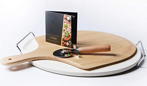 Wohlers Pizzastein Set | Pizzastein XXL 38cm | Schaufel | Pizzaschneider | GRATIS REZEPTHEFT| (Pizzastein Set)