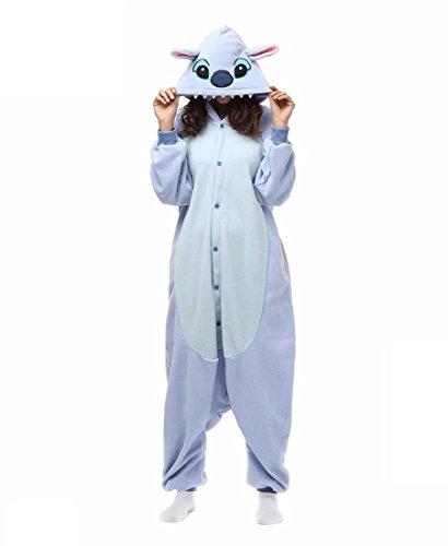 Cosplay / Stitch / Monster Trikot / Onesie Halloween Tier Nachtwäsche Blue Patchwork Polar Fleece Kigurumi Unisex , l (Monster Onesies Für Erwachsene)