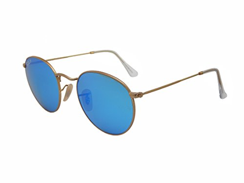 Ray Ban Round Metal RB3447 112/4L Gold/Blue mirror 50mm Polarized Sunglasses