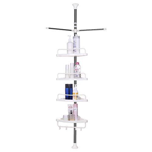 Vpcok Etagère de Douche Télescopique en Acier Inoxydable de Douche Salle de Bain d'Angle à 4 étages (110cm -300cm) avec 4 Crochets et 2 Porte-Serviettes