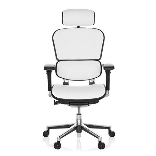 Bürostuhl DR-Büro Poreo 30 - Chefsessel mit Kopfstütze und Armlehnen - höhenverstellbar - Bezug Echtes Leder weiß