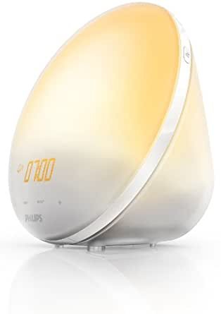 Philips HF3510/01 Wake-Up Light mit Sonnenaufgangsfunktion in 3 Farbstufen inkl. digitalem FM Radio