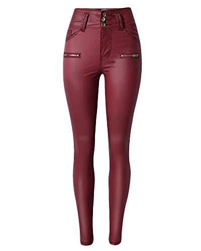 3cb360da05546 Qitunc Womens High Waist Faux Leather Trousers Pu Coated Stretchy Skinny  Jeans Biker Pants - £20.92