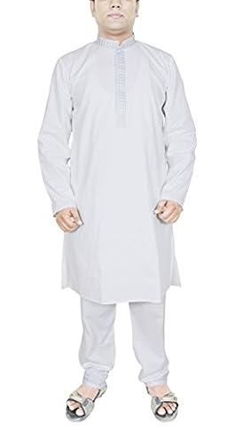 White Kurta Pajama Indian Cotton Casual Wear Pajama Traditional Mens Designer -M