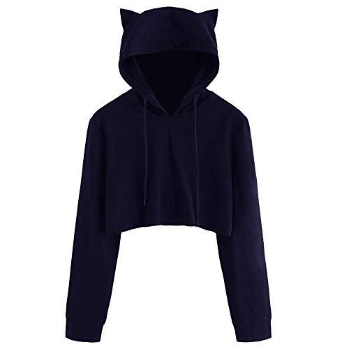 Tragen Navy Jumper (Pullover-Hoodie Liusdh Katzenohr Langarm Hoodies Pullover Sweatshirts Pullover Tops Bluse für Schulmädchen(Navy,XL))