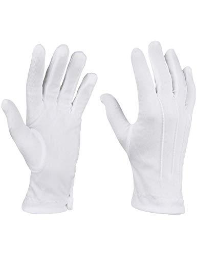 Tanz Kinder Clown Kostüm - Balinco Weiße Handschuhe in Einheitsgröße mit Druckknopf und Biesen