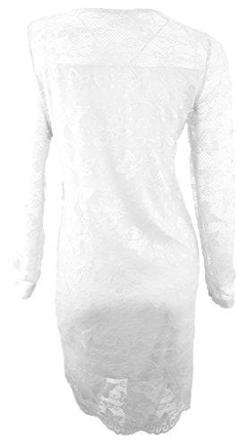 # 4223Femme Robe de soirée robe robe en dentelle Viscose Étui robe à manches longues Noir Weiß