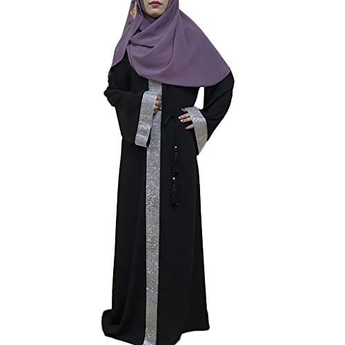 BakeLIN Damen Elegante Muslimische Kleider, Langarm Roben Kaftan Locker Kleid Dubai Maxikleid Islamischen Arabischen Kaftan Kostüm mit Gürtel