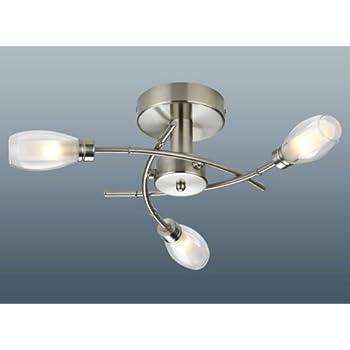 Hefbu 3 arm ceiling light satin nickel amazon lighting hefbu 3 arm ceiling light satin nickel aloadofball Choice Image