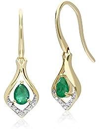 d5818063f Gemondo Emerald Earring, 9ct Yellow Gold Emerald & Diamond Leaf Drop  Earrings