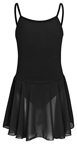 Rock Schwarz Kostüm Mit - tanzmuster Kinder Ballettkleid Maggie aus weicher Baumwolle mit geraden Spaghettiträgern und Chiffon Rock in schwarz, Größe:164/170