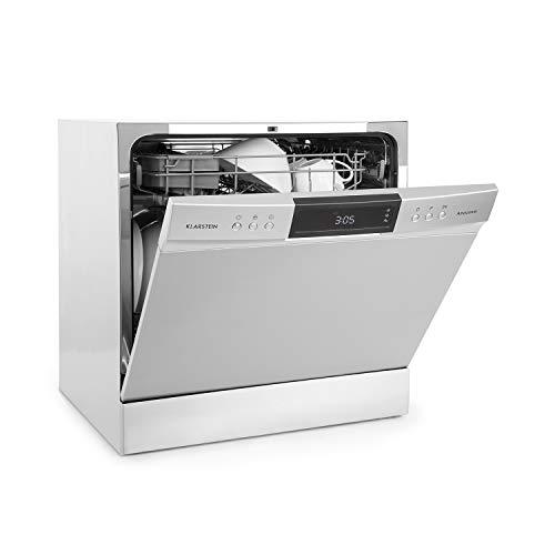 Klarstein Amazonia Neo - Freistehende Spülmaschine, Silver Edition, Effizienzklasse: A+, 205 kWh/Jahr, 55 cm breit, 8 Maßgedecke, 8 Programme, stromsparend, silber