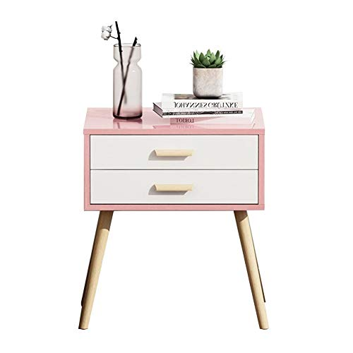 Tische CJC Nachttisch  2 Schubladen, Bedside Tabelle Schlafzimmer Beistelltisch, Modern Akzent Tabelle, Robust Einfach Versammlung Beistelltische (Farbe : Pink) (Akzent-stuhl-tabellen)