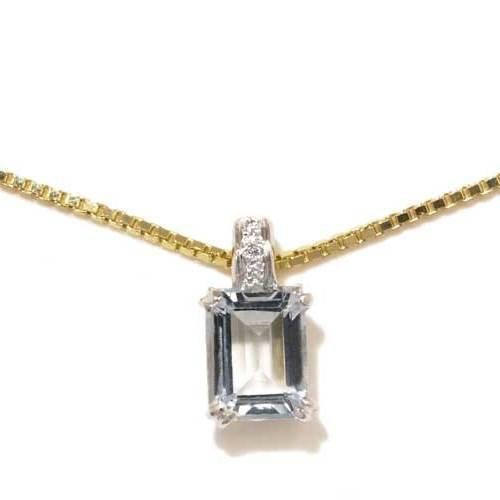 Gioie Girocollo Donna in Oro 18 carati Bianco/Giallo con Acquamarina e Diamante H/SI (totale diamanti 0.01 ct), Cm 42, 5.2 Grammi