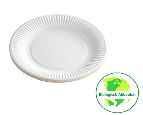 Gastro-Bedarf-Gutheil 500 Pappteller Partyteller Imbissteller Teller weiß rund Ø 23cm kompostierbar