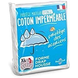 Sweethome | Protège Matelas Imperméable - 160x200 cm - Bouclette 100% Coton - Anti Acariens - Souple et Silencieux - Forme Drap Housse - Lavable en Machine
