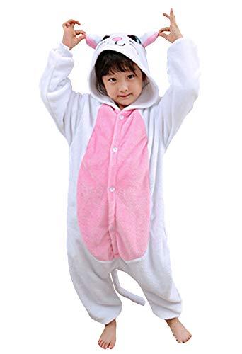 Jumpsuit Onesie Tier Karton Fasching Karneval Halloween Kostüm Kinder Mädchen Junge Kigurumi Sleepsuit Overall Pyjama Unisex Lounge Cosplay Schlafanzug, Weiß Katze