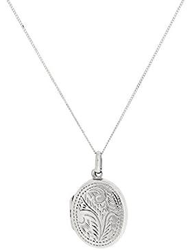 Olivia 925 Sterling Silber eingraviertes Oval-Medaillon zum Öffnen, auf Kette 45,7 cm SCZ260