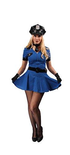 Polizistin Kostüm blau-schwarz für Damen | Größe 34 | 3-teiliges Polizei Karneval Kostüm | Cop Faschingskostüm für Frauen
