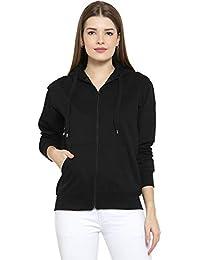 Scott International Women's Premium Cotton Pullover Hoodie Sweatshirt with Zip - Black