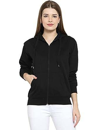 Scott Women's Cotton Pullover Hoodie Sweatshirt with Zip - Black - 1.1_lsshz9_L