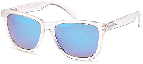 SAMBORA® 3991-4 Unisex Sonnenbrille UV400 Schutz Wayfarer Style - Rahmen: Transparent Glas: Blau Verspiegelt