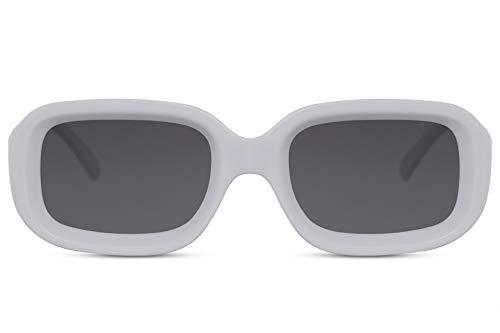 Cheapass Damen-Sonnenbrille Schmetterling Weiß Breit Rund Groß Exklusiv Designer-Brille Retro Plastik Frauen