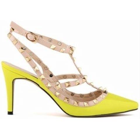 zz&Y El zapato de costura del grabado atractivo señala con los zapatos altos finos del tecleo de los talones,Amarillo fluorescente ,35